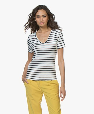 Petit Bateau Striped V-neck T-shirt - Marshmallow/Smoking