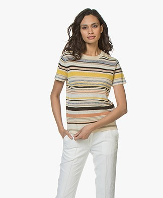 Vanessa Bruno Lucida Striped Linen Blend T-shirt - Multicolored