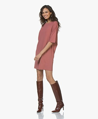 Drykorn Amari Viscose Crepe Jersey Dress - Terracotta Pink