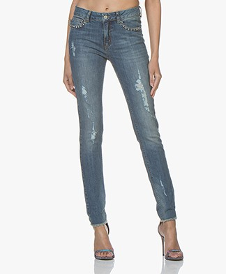 Zadig & Voltaire Eva Love-worn Slim-fit Jeans - Blue
