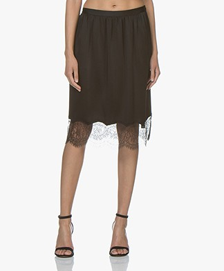 Joseph Ward Crepe Satin Skirt - Black