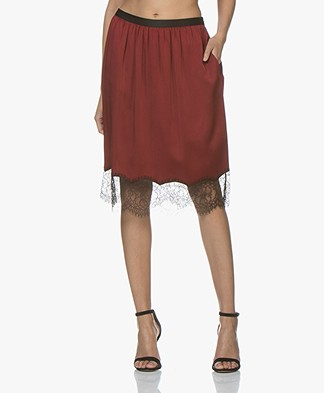 Joseph Ward Crepe Satin Skirt - Crimson