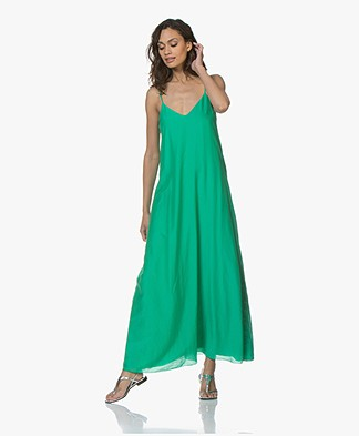 Pomandère Zijdemix Maxi-jurk - Fluo Green
