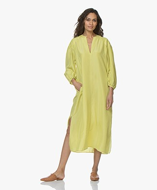 Pomandère Pure Silk MIdi Dress - Yellow