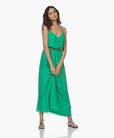 Maxi Jurk Turquoise.Pomandere Silk Blend Maxi Dress Fluo Green Pomandere