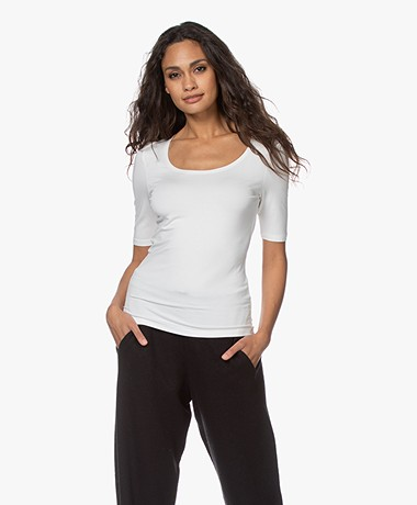 no man's land Viscose Half Sleeve T-shirt - Ivory