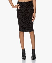 no man's land Flock Print Jersey Pencil Skirt - Black