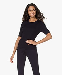 Repeat Half Sleeve Cotton Blend Rib Pullover - Navy