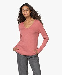 Repeat V-neck Sweater in Cotton and Viscose - Vintage Rose