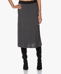 indi & cold Pleated Knitted Midi Skirt - Marengo