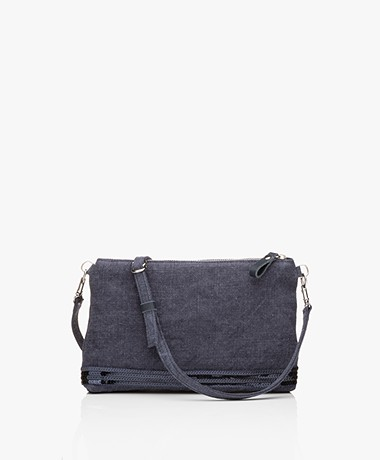 Vanessa Bruno Linen Schoulder Bag - Denim