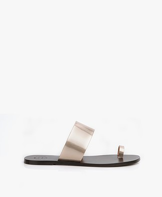 ATP Atelier Astrid Leather Toe Slipper Sandals - Toffee Metallic