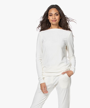 Woman by Earn Ditte Velours Boothals Longsleeve - Off-white