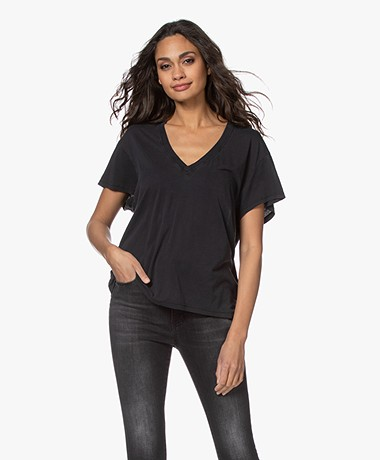 IRO Ponie Lyocell Mix V-hals T-shirt - Used Black