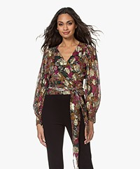 ba&sh Leia Printed Wrap Blouse with Lurex - Emerald