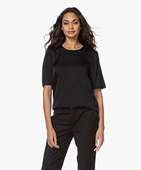 Filippa K Silk Short Sleeve Blouse - Black