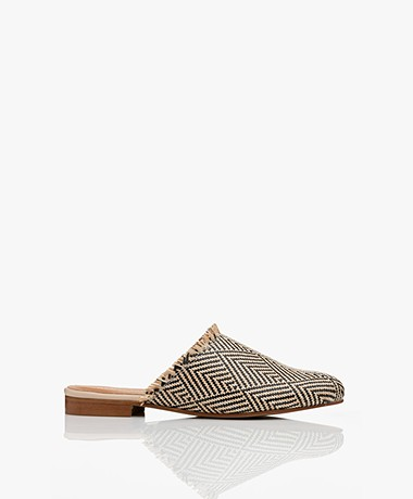 indi & cold Braided Printed Slip-in Mules - Beige/Black