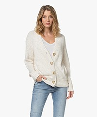 Repeat Buttoned Cardigan with Sequins - Cream