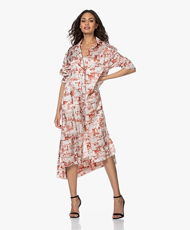 Joseph Gaya Shirt Dress with Exclusive Stamp Print - Rust