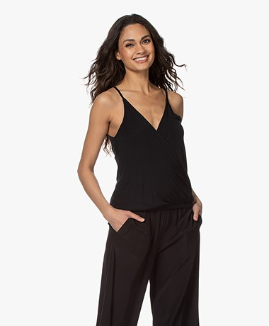 ba&sh Miguel Modal Jersey Wrap Top - Black