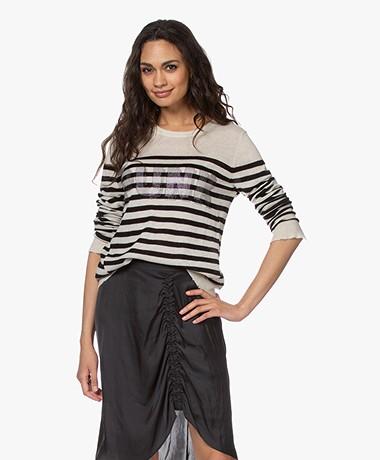 Zadig & Voltaire Source Striped Cashmere Sweater - Sand/Black