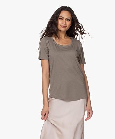 Repeat Jersey Lyocell Mix T-shirt - Kaki