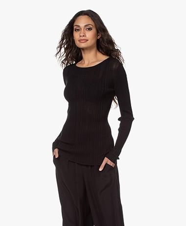 Joseph Slash Ribbed Cotton Slim-fit Sweater - Black