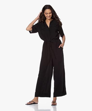 Pomandère Crepe Wide-leg Jumpsuit - Black