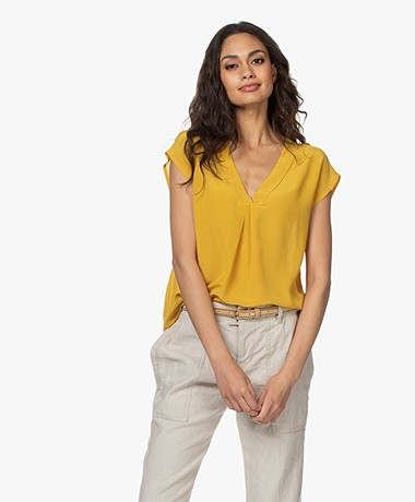 Pomandère Pure Silk Short Sleeve Blouse - Mustard Yellow