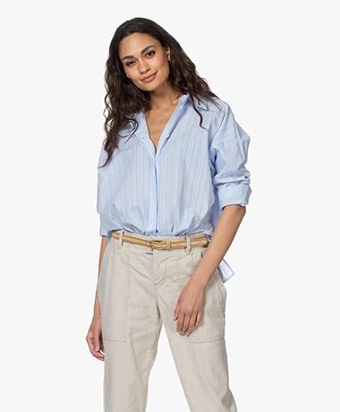 Drykorn Cloelia Striped Shirt - Light Blue