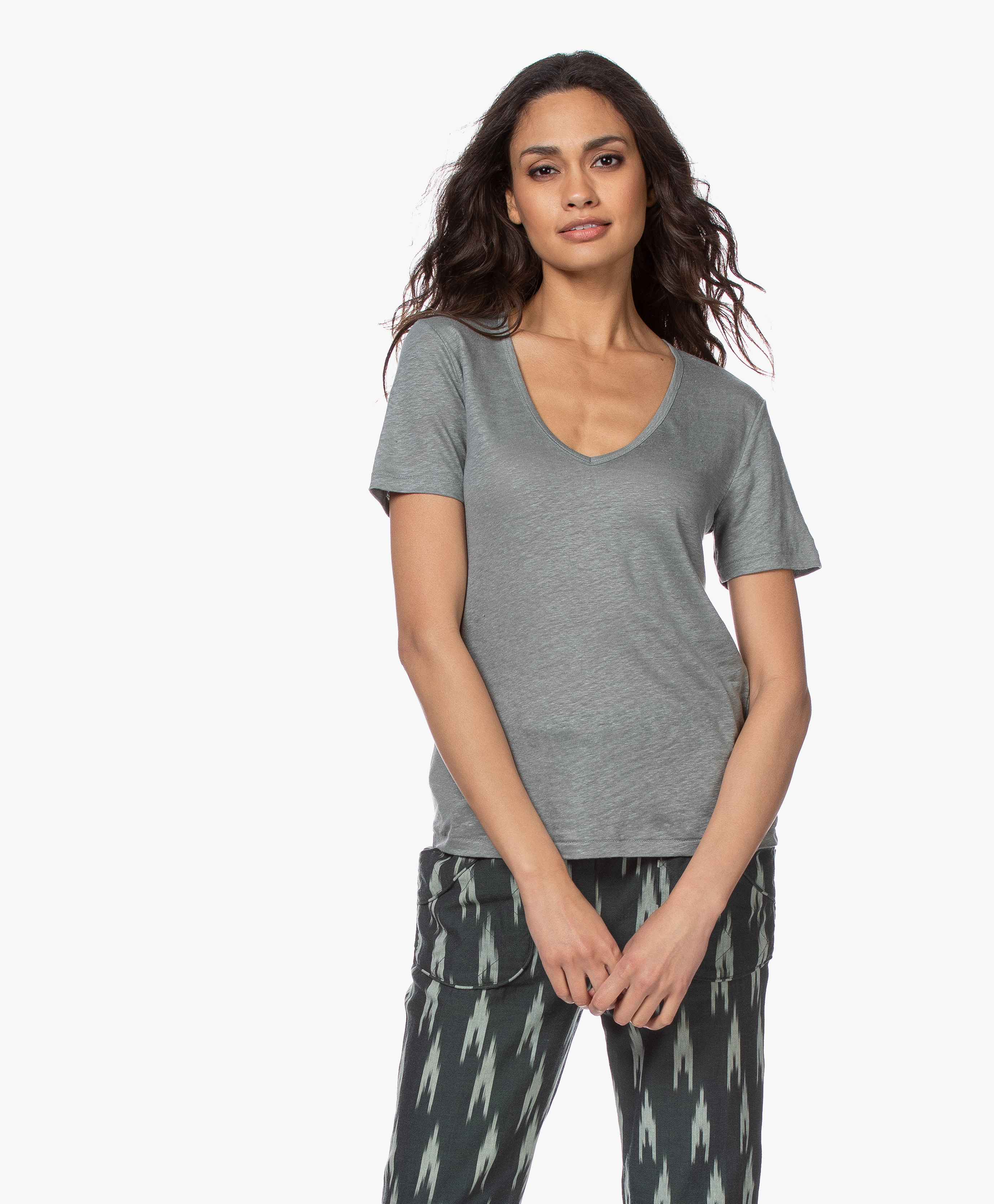Closed Linen V neck T shirt Dusty Pine c95858 444 22 691