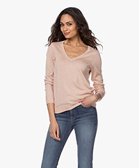 Repeat Cotton Blend V-neck Pullover - Peach