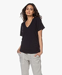 Majestic Filatures Cindy Bruna Brushed V-neck T-shirt - Black