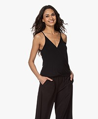 ba&sh Miguel Modal Jersey Wrap Top - Black