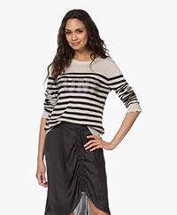 Zadig & Voltaire Source Striped Cashmere Sweater - Sand/Black
