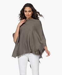 Repeat Fine Knit Cotton Blend Poncho - Khaki
