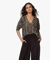 Drykorn Simony Snake Print  V-neck Sweater - Khaki/Black