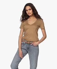 Closed Linen V-neck T-shirt - Golden Oak