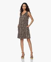Drykorn Lania Cupro Mix Snake Print Dress - Kaki