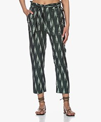 indi & cold Cotton Ikat Paperbag Pants - Green