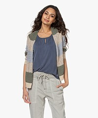 indi & cold Striped Open Cardigan - Khaki