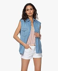 ba&sh Drop Sleeveless Cotton Blouse - Blue Jeans
