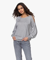 Repeat Bamboo Blend Cold Shoulder Sweater - Grey