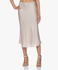 Repeat Silk Bias-cut Midi Skirt - Beige