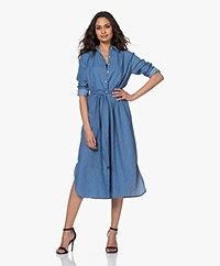 no man's land Cotton Midi Shirt Dress - Washed Denim
