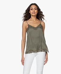 Repeat Silk Blend Top with Lace - Khaki