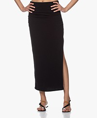 James Perse Brushed Jersey Long Split Skirt - Black
