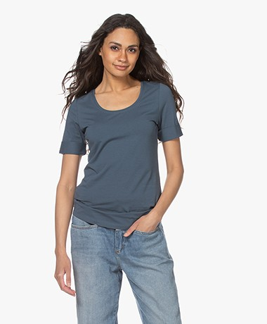 Repeat Cotton Scoop Neck T-shirt - Ocean
