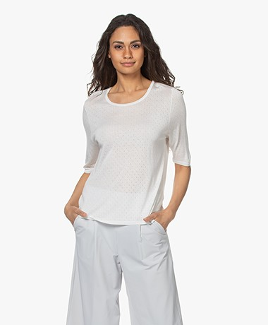 Sibin/Linnebjerg Lily Pointelle Sweater with Half-length Sleeves - Off-white