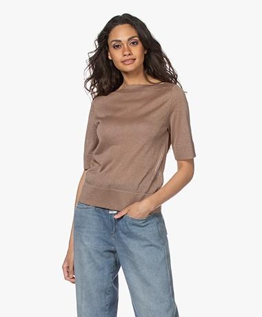 LaSalle Short Sleeve Boat Neck Sweater - Sand